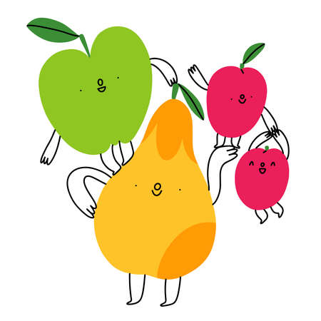 Happy cartoon fruits characters composition, vector illustration isolated on white background