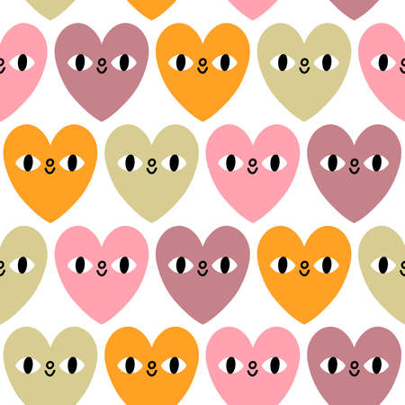 Pastel hearts with eyes, cute valentine characters in candy colors, vector seamless pattern