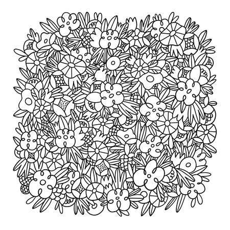 Wild flowers and grass vector square background template, crazy black and white outlined floral doodles, isolated on white background 向量圖像