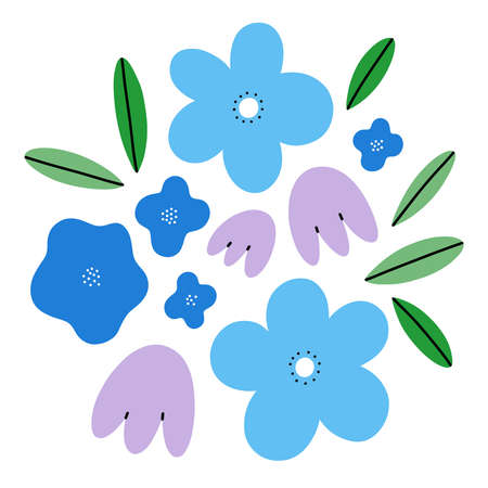 Abstract spring flowers simple vector composition, blue tones illustration, isolated on white background 向量圖像