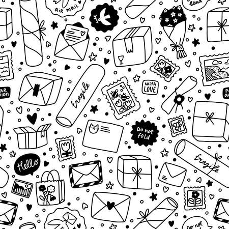 Everything is packed and delivered on time, black and white vector seamless pattern