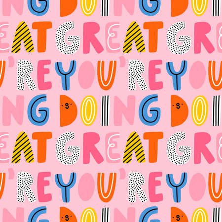 You are doing great, vector seamless pattern with vivid and colorful cartoon lettering 向量圖像