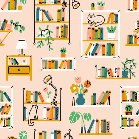 Home library aesthetic, different shelves and racks, house pants, and a few cats, vector seamless pattern