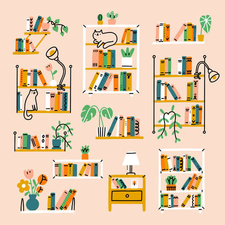 Home library aesthetic, set of 11 shelves and racks, vector illustration collection, isolated on pink background 向量圖像