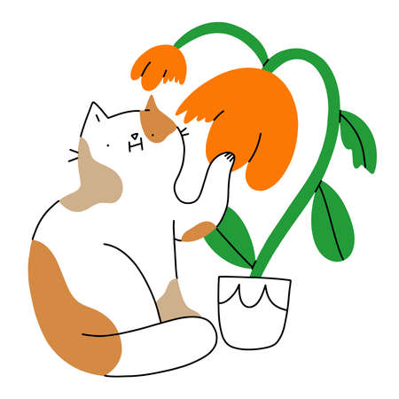 Cute cat chewing flower in a pot, funny vector illustration isolated on white background