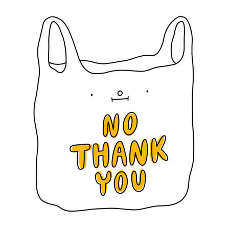 Say no to plastic, green eco illustration. Cartoon plastic bag, cute funny character, vector illustration isolated on white background 向量圖像