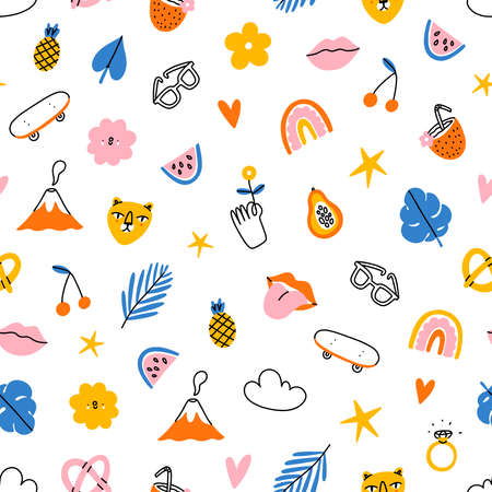 Funky and tropical summer, colorful hipster clip art, vector seamless pattern 向量圖像