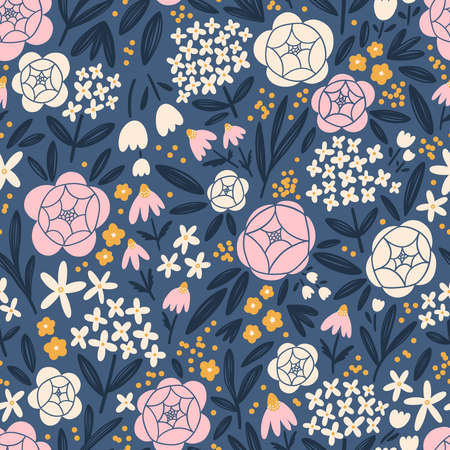 Hydrangeas, roses and other beautiful flowers bloom, vector seamless pattern 向量圖像
