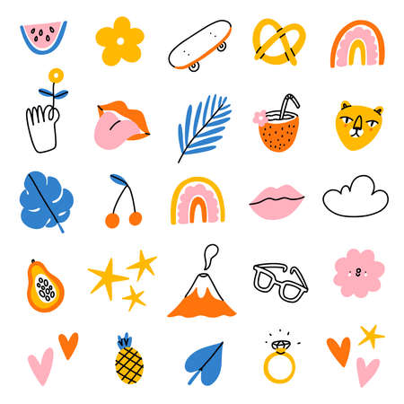 Funky tropical summer vector illustrations clip art, set of 20 icons, isolated on white background 向量圖像