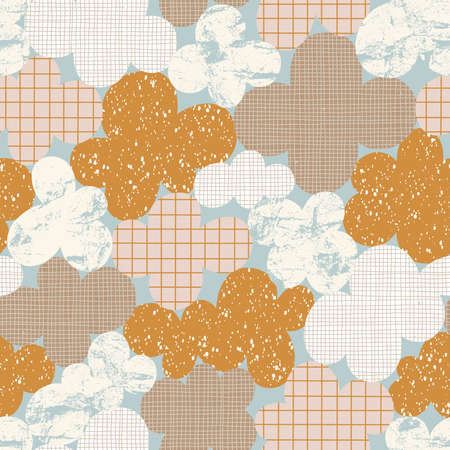 Abstract cloudscape, clouds with fun hand drawn textures, vintage vector seamless pattern