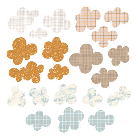 Abstract cloudscape, vintage look clouds vector collection, isolated on white background 向量圖像