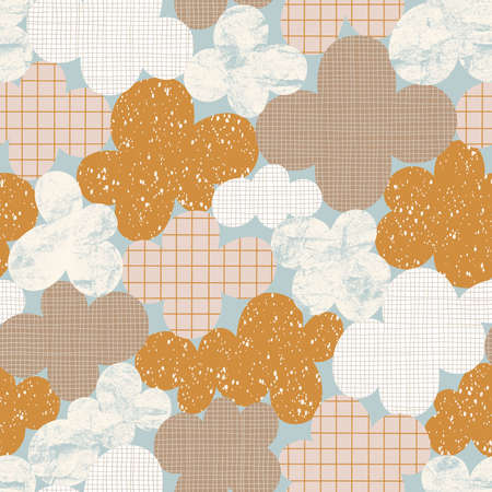Abstract cloudscape, vintage seamless pattern illustration in neutral colors