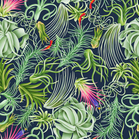 Tillandsia forest, exotic beautiful air plants seamless pattern illustration. Rich and modern background texture