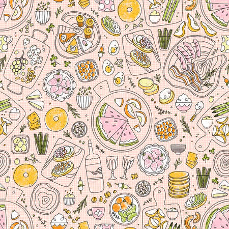 Modern charcuterie table with fruits, vegetables, different kinds of cheese, seamless pattern illustration, line art