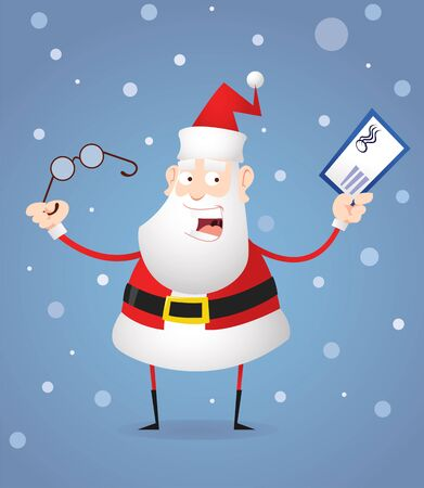 Santa Claus with glasses and letter