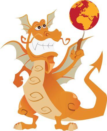 Orange dragon turns the globe on his finger