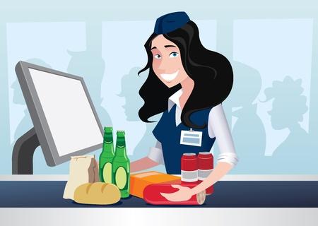Cashier girl worked in supermarket