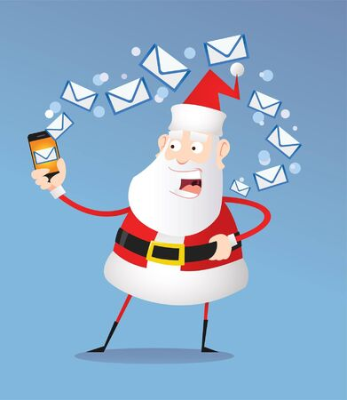 Santa reads and answers letters on the phone