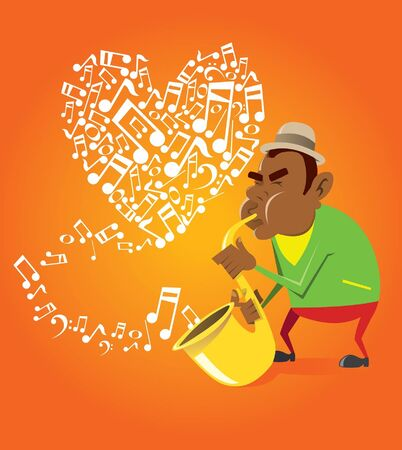 African-American saxophonist plays the saxophone Illustration
