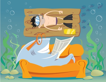 Funny underwater world Stock Vector - 11335172