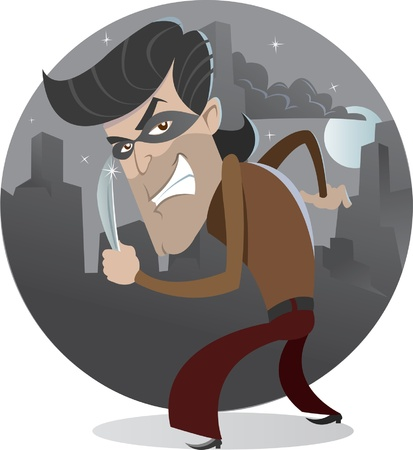 office theft: Criminal with the knife