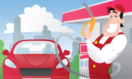 estacion de gasolina: Gas fuerte de los trabajadores en la estación de coche de uniforme y de color rojo
