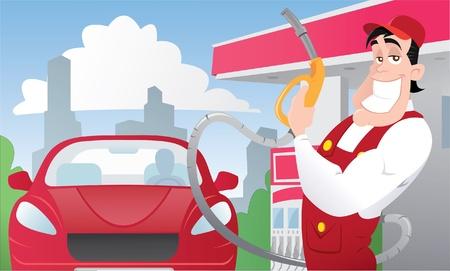 Silne pracownik stacji benzynowej w samochodzie jednolitego i czerwony