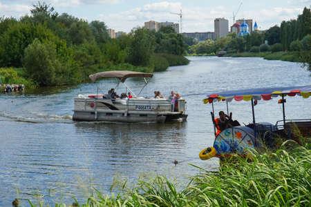 A pleasure boat rolls tourists.