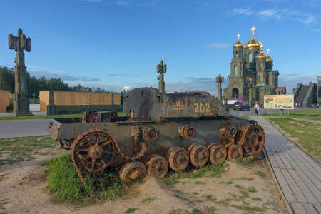 Fascist tank in the background of the temple of the Armed Forces of Russia