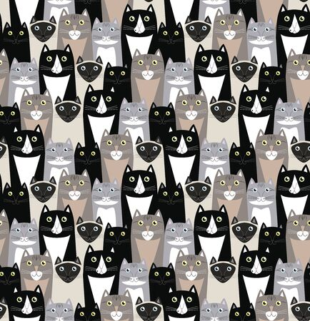 neutral colors funny cats seamless pattern. maine coon cats, black cats, siamese cats, tabby cats