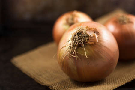 Raw onions against a rustic background