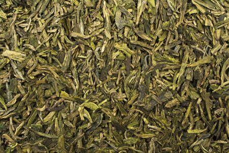 loose leaf: Closeup of loose leaf green tea filling the frame