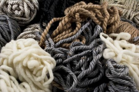 neutral: Close-up of neutral colored yarn scraps Stock Photo