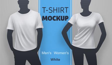 White men and women t-shirt mockup. Vector realistic illustration