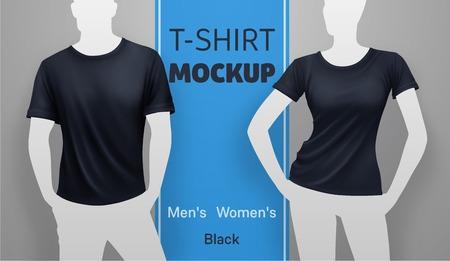 white men: White men and women t-shirt mockup. Vector realistic illustration