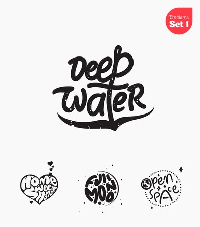deep water: Set of calligraphic emblems and signs. Vector illustration