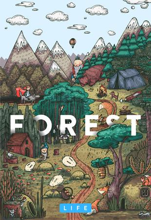 Gedetailleerde kleurrijke vector illustratie. Geheime leven in een sprookjesbos met dieren, vogels, planten en fantasiewezens Stock Illustratie