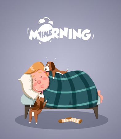 morning rituals: Daily Morning Life. Dogs trying to wake up owner. Vector illustration
