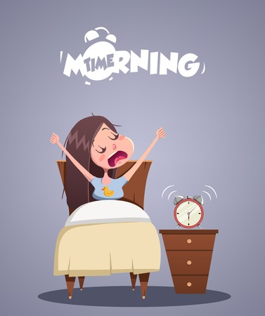 Daily Morning Life. Young girl yawns in bed. Vector illustration