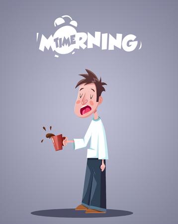 sleepy: Daily Morning Life. Yawning Sleepy Man With Cup Of Coffee. Vector illustration Illustration