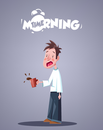 Daily Morning Life. Yawning Sleepy Man With Cup Of Coffee. Vector illustration Illustration