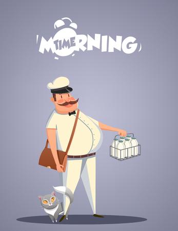 milkman: Daily Morning Life. Milkman and cat. Vector illustration Illustration