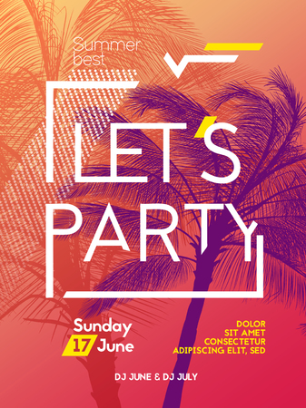 nightlife: Summer time party poster design template with palms trees silhouettes. Modern style. Vector illustration
