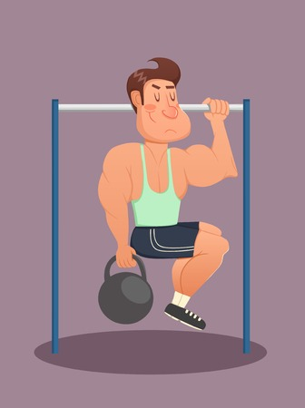 calisthenics: Fitness, sport, health, exercising, training and lifestyle concept - young man doing exercises on horizontal bar. Vector illustration