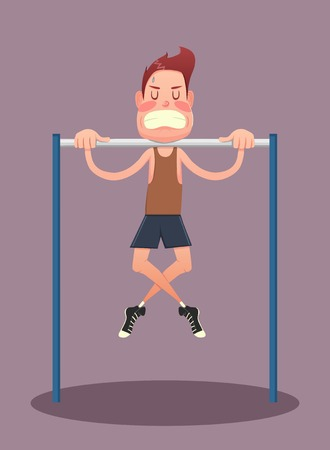Fitness, sport, health, exercising, training and lifestyle concept - young man doing exercises on horizontal bar. Vector illustration
