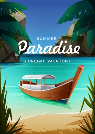 Tropical paradise poster. Seaside view with a boat. Summer vacation concept background. Vector. Illustration