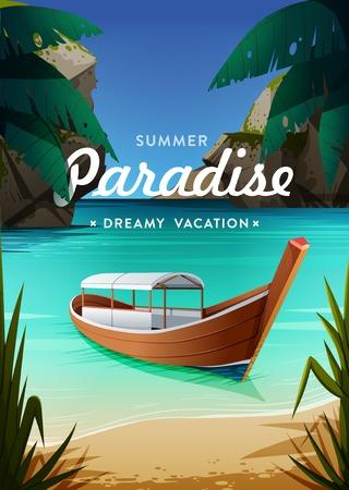 Tropisches Paradies Plakat. Meerblick mit einem Boot. Sommer Urlaub Konzept Hintergrund. Vektor.