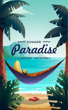 Tropisch paradijs poster. Zeezicht met een hangmat en palmen. Zomer vakantie concept achtergrond. Vector.