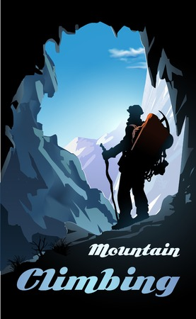 Mountain climbing poster. Mountaineer with a backpack and mountain panorama. Vector illustration Illustration