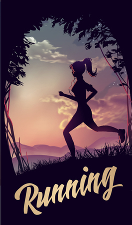 jogging: Sporty woman jogging at park in sunrise light. Vector illustration